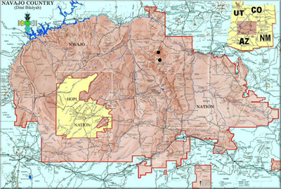 Navajo Reservation distribution map for Camponotus modoc